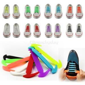 12x-Facile-Non-Cravate-Chaussure-Lacets-Elastiques-Silicone-Basket-Adulte-Enfant