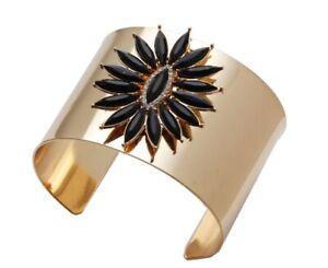 Breiter-Blumen-Kristall-Armreif-Armband-Manschette-Armspange-Statement-Modisch