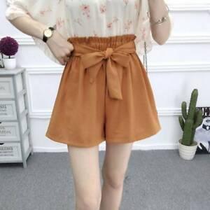 1pc-Women-Korean-Elastic-High-Waist-Bow-Tie-Bowknot-Wide-Leg-Short-Pants-Short-l