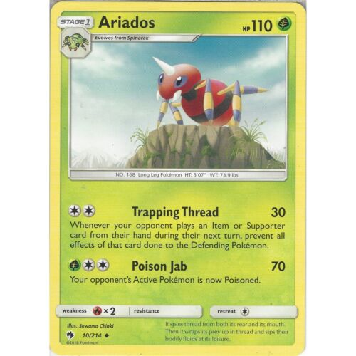 Pokemon TCG: Ariados Uncommon Card Sun /& Moon Lost Thunder SM8 10//214