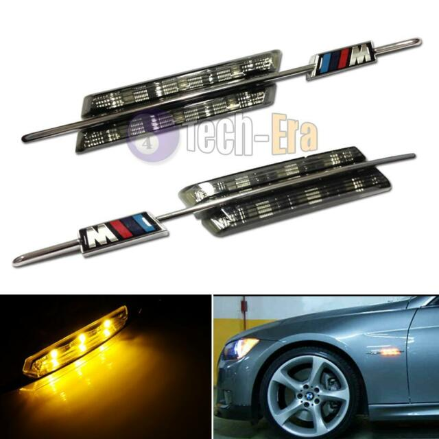 BMW M-Sport Black Smoked Side Marker Lamps Amber LED Fit BMW E81 E88 E90 E92 E60