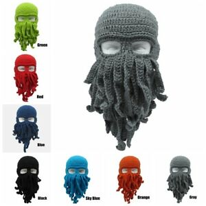 dd7bad6697e Funny Wind Ski Wool Knit Cosplay Beanie Tentacle Mask Beard Octopus ...