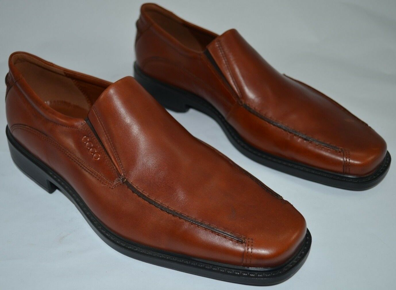 Ecco Mens Comfort Pinch Bicycle Toe Loafers Cognac Brown Leather Sz EU 45 US 11