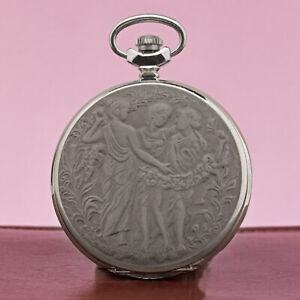 MOLNIJA-3602-Taschenuhr-3-Grazien-Chariten-Nymphen-russische-mechanische-Uhr