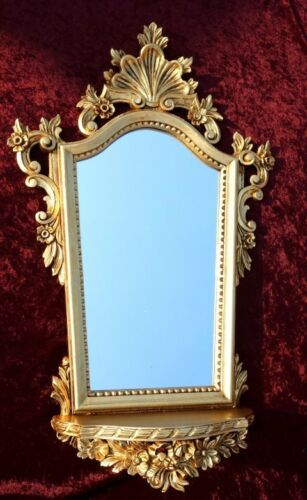 Baroque Wall Mirror with Console Gold Mirror with Shelf Antique 78x50 Oval Cp93