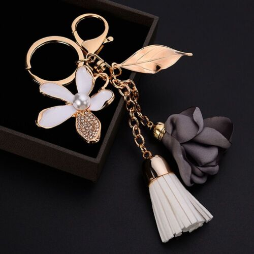 Sac en Tissu Cristal Bijoux Tassel Femmes Fleur Porte-Clés Keychain Key Chain