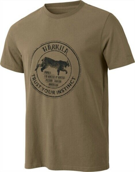 Harkila Wildlife Lynx T Shirt Khaki Men's Tops Country Hunting Shooting