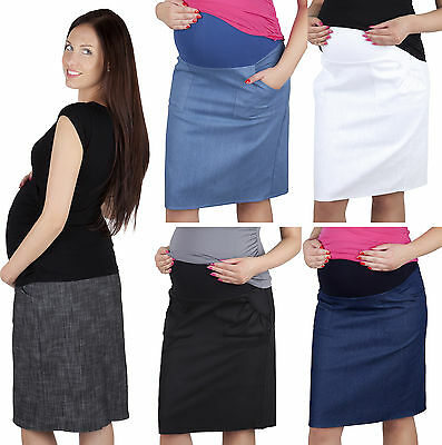 Maternity Casual Everyday Sporty Denim Skirt Over Bump 8 10 12 14 16 18