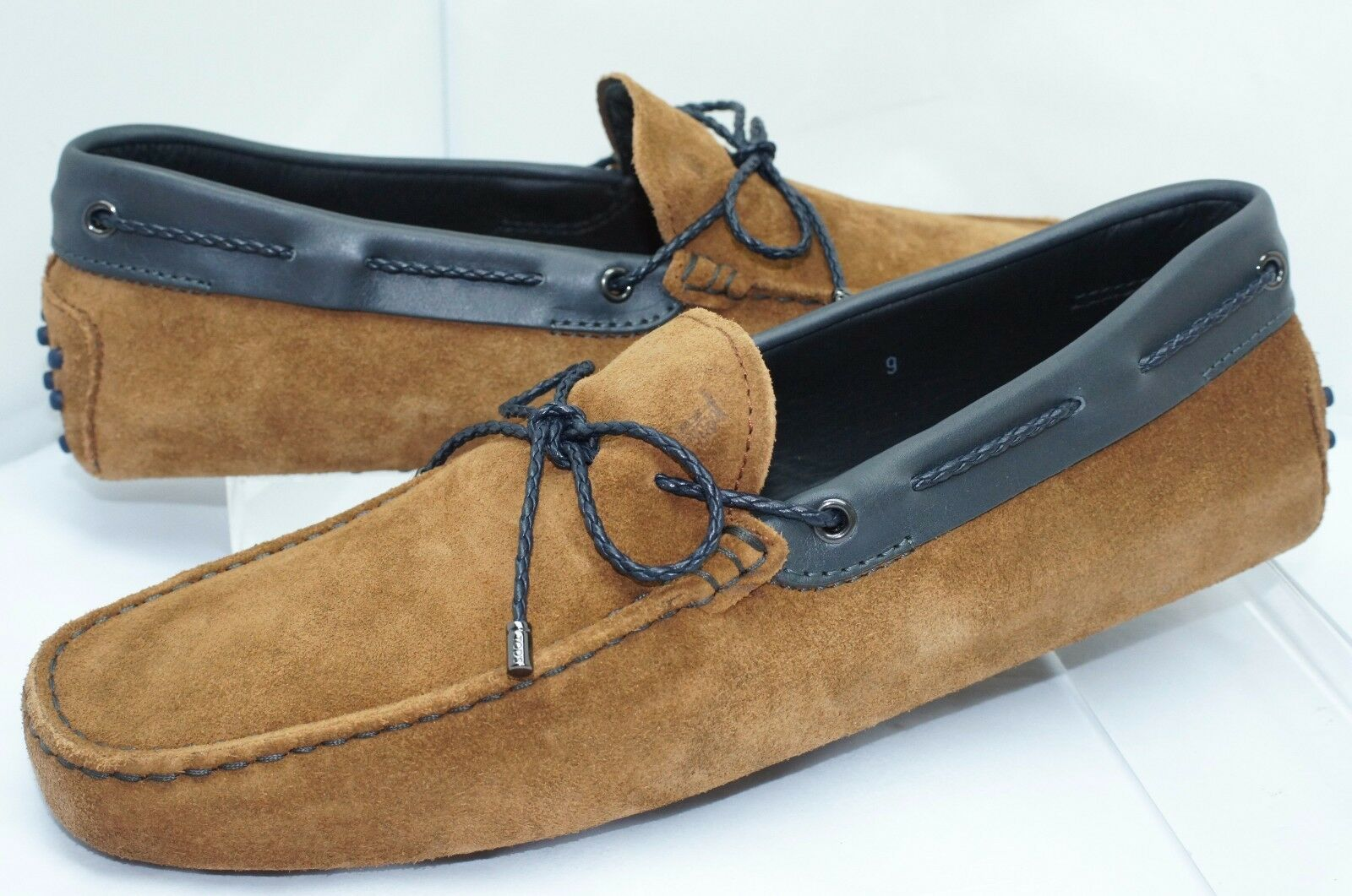 New Tod's Men's Brown Shoes Woven Lace Loafers Size 9 Slip Ons Drivers Suede