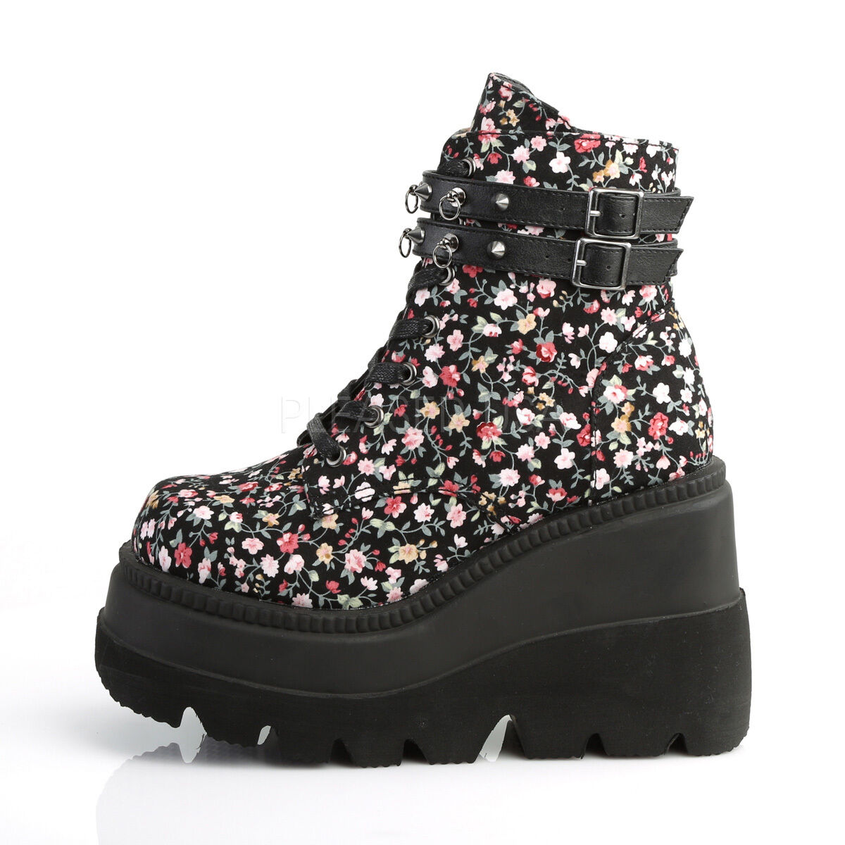 "Demonia Shaker Floral Platform 4.5"" Wedge Heel Ankle Boots Sizes 6-12"
