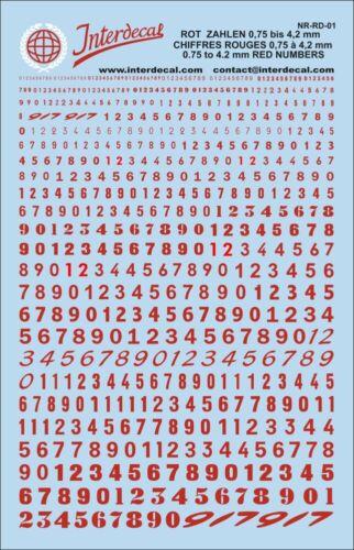 Números rojos decal 0,75-4,2 mm naßschiebebild los números de inicio red numbers nr-rd-01
