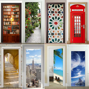 Calcomanias-Decorativas-frigorifico-de-pared-puerta-3D-Impermeable-Escena-Adhesivo-Mural-Decoracion