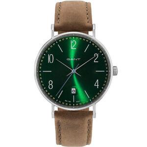 Gant-GT034004-Detroit-silber-gruen-braun-Leder-Armband-Uhr-Herren-NEU