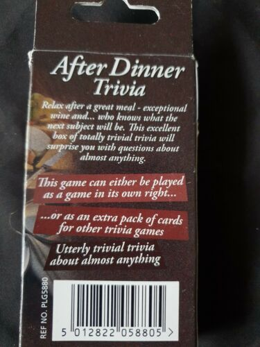 After Dinner Trivia General Knowledge Cards plus Die Game
