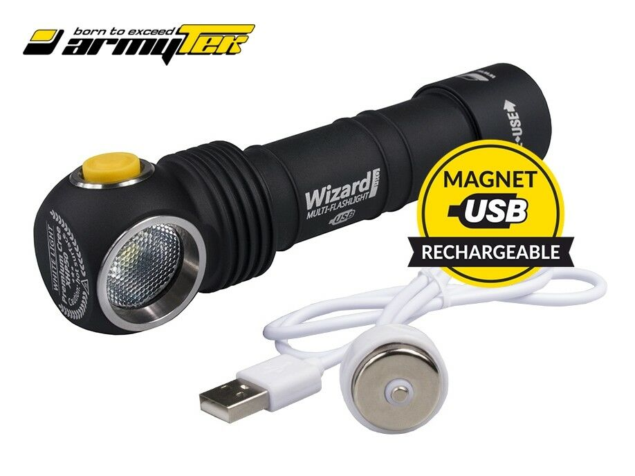 New Armytek Wizard Magnet USB v3 Cree XP-L 1120Lm Warm LED Headlight -No battery