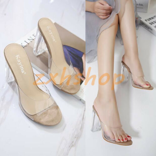 Pantolette Transparent Slipperschuhe Sandals Blockabsatz Damen Sommer Slingbacks wSqzxpanR