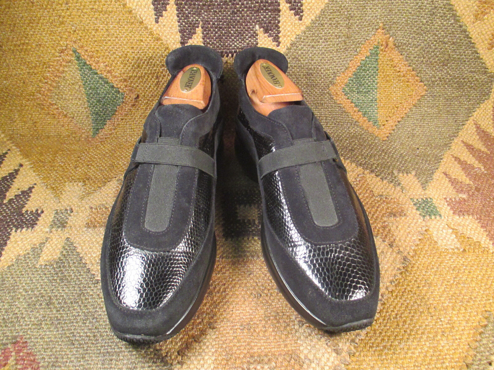 Aquatalia by Marvin K.  noir  Suede & Patent Leather Slip on  Chaussures  7.5M