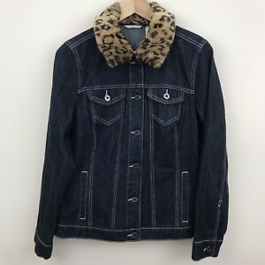 4c0b8bc66776 Laura Ashley M Jean Jacket Faux Fur Removable Collar Dark Blue Denim ...