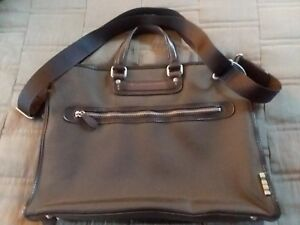 Image Is Loading Paul Smith Brown Leather Nylon Briefcase Doent Business