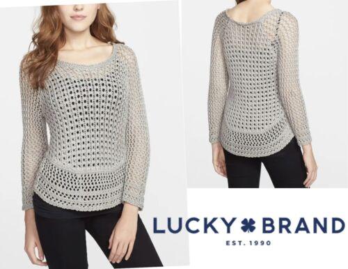 XS Lucky Brand Marissa Metallic Crochet Openwork S