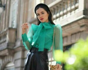 ZARA-NEW-MID-GREEN-ORGANZA-BLOUSE-WITH-BOW-DETAIL-Size-S-Ref-2059-446