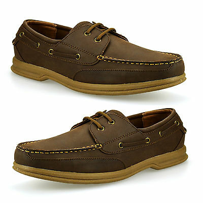 Mens Casual Smart Lace Up Boat Deck Designer Comfort Walking Driving Shoes Size