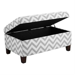 Grey-amp-White-Chevron-Stripe-Padded-Storage-Ottoman-Bench-Upholstered-Seating