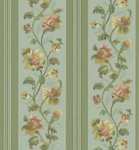 Wallpaper-Silk-Satin-Traditional-Floral-Stripe-on-Green-Background