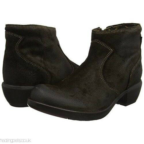 FLY LONDON MAIA171FLY SLUDGE SUEDE ZIP UP ANKLE BOOTS UK 4 EUR 37 BNIB