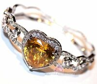 Beauty For Ashes® Canary Yellow Heart Simulated Diamand Gala Cuff Cz Bracelet