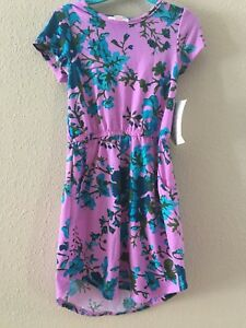 Bnwt lularoe mae pocket summer dress 4 aqua blue flowers pink purple image is loading bnwt lularoe mae pocket summer dress 4 aqua mightylinksfo