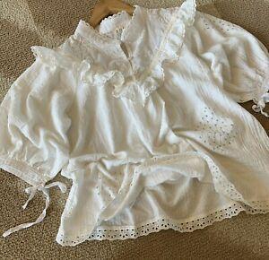 M-Boho-White-Lace-Romantic-Peasant-Blouse-Vtg-70s-Insp-Top-Women-039-s-MEDIUM-NWT