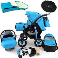 Baby Pram Stroller +car Seat - Pushchair - Buggy Umbrella Footmuff Travel System