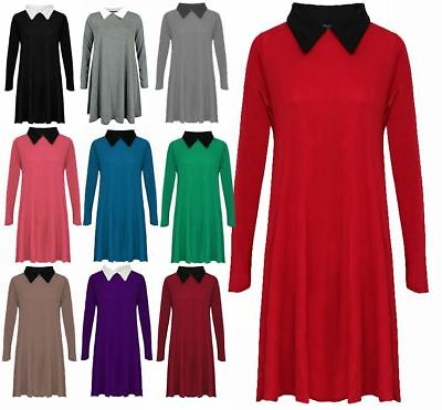 Womens Plus Size Peter Pan Collar Ladies Long Sleeve Skater Flared Swing Dress