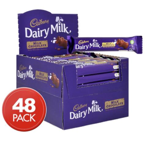 Cadbury Dairy Milk Chocolate Bars 48 x 50g Bulk Chocolates Confectionary Lollies