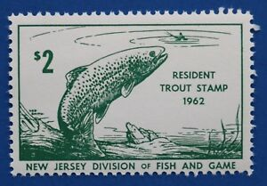 Image Is Loading U S NJT19 1962 New Jersey Trout Stamp MNH