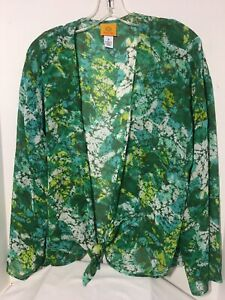 Ruby Rd Open Front Jacket Top Abstract  Print Green & Yellow Semi Sheer Sz 16