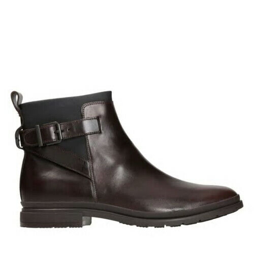 Clarks London Stride Dark Brown Premium Leather Zip Ankle Boot Uk7.5 RRP New