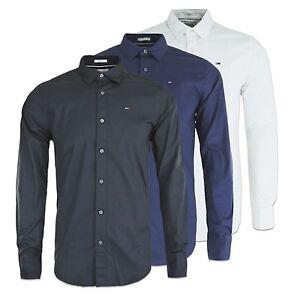 NUEVO-HILFIGER-Camisa-ORIGINAL-BANDERA-Elastico-de-manga-larga-Negro
