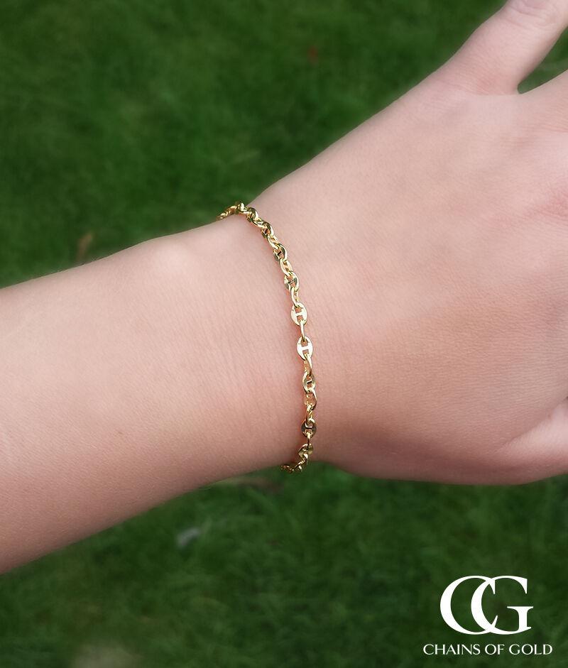 9 carati oro giallo Anchor stile mariner Bracciale 7.5 7.5 7.5 ″ ed9e08