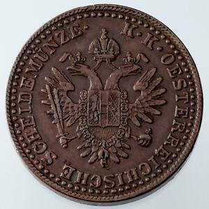 1851-A-Austria-2-Kreuzer-Copper-Coin-XF-Condition-KM-2189