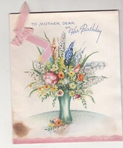 To Mother Dear On Her Birthday Vase Flowers Folding Vintage Greeting