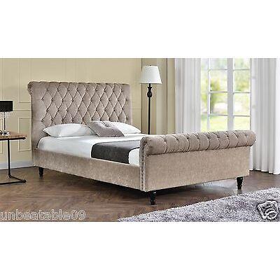 Chesterfield Upholstered Fabric Bed Frame Velvet Chenille Double or King Size