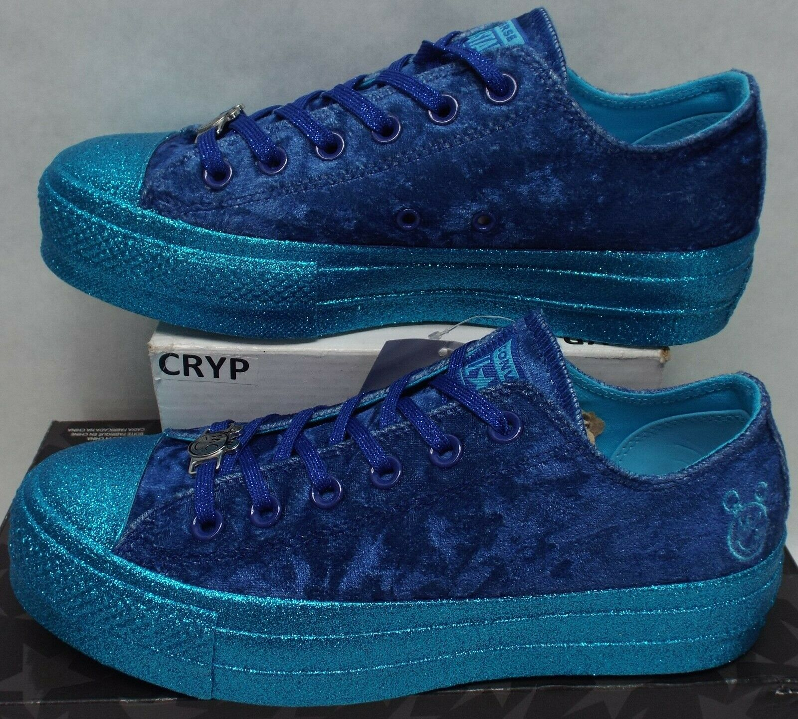 New Miley Cyrus Womens 10.5 Converse CTAS Lift OX Metallic bluee shoes 75 563721C