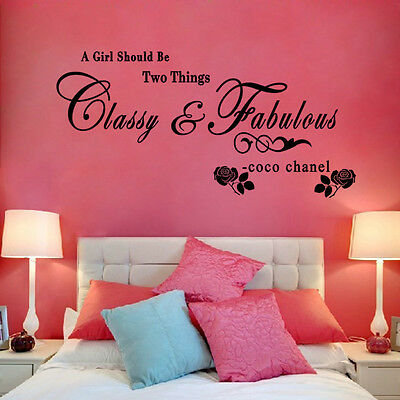 A Girl Should Be Classy&Fabulous Wall Sticker Quote Art PVC Decal Bedroom Decor