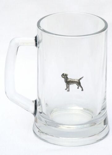 Border Terrier Motif Handled Beer Glass Tankard Stein oversize Pint 600ml 037