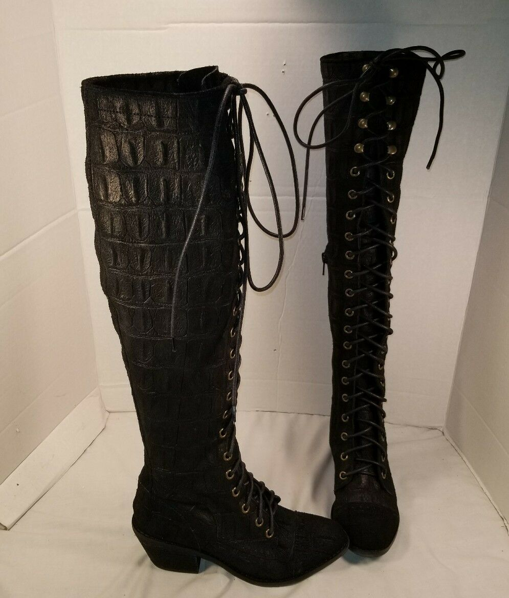NEW FREE PEOPLE X JEFFREY CAMPBELL BLACK CROC LEATHER JOE LACE UP BOOTS US 5.5
