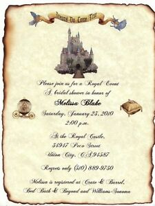 qty 50 Fairytale Princess Castle Theme Scroll Wedding Invitations