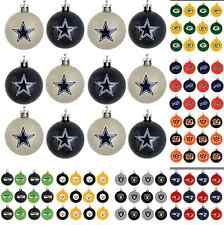 NFL Football Christmas Tree Decor Holiday Mini Plastic Ball Ornament Set of 12