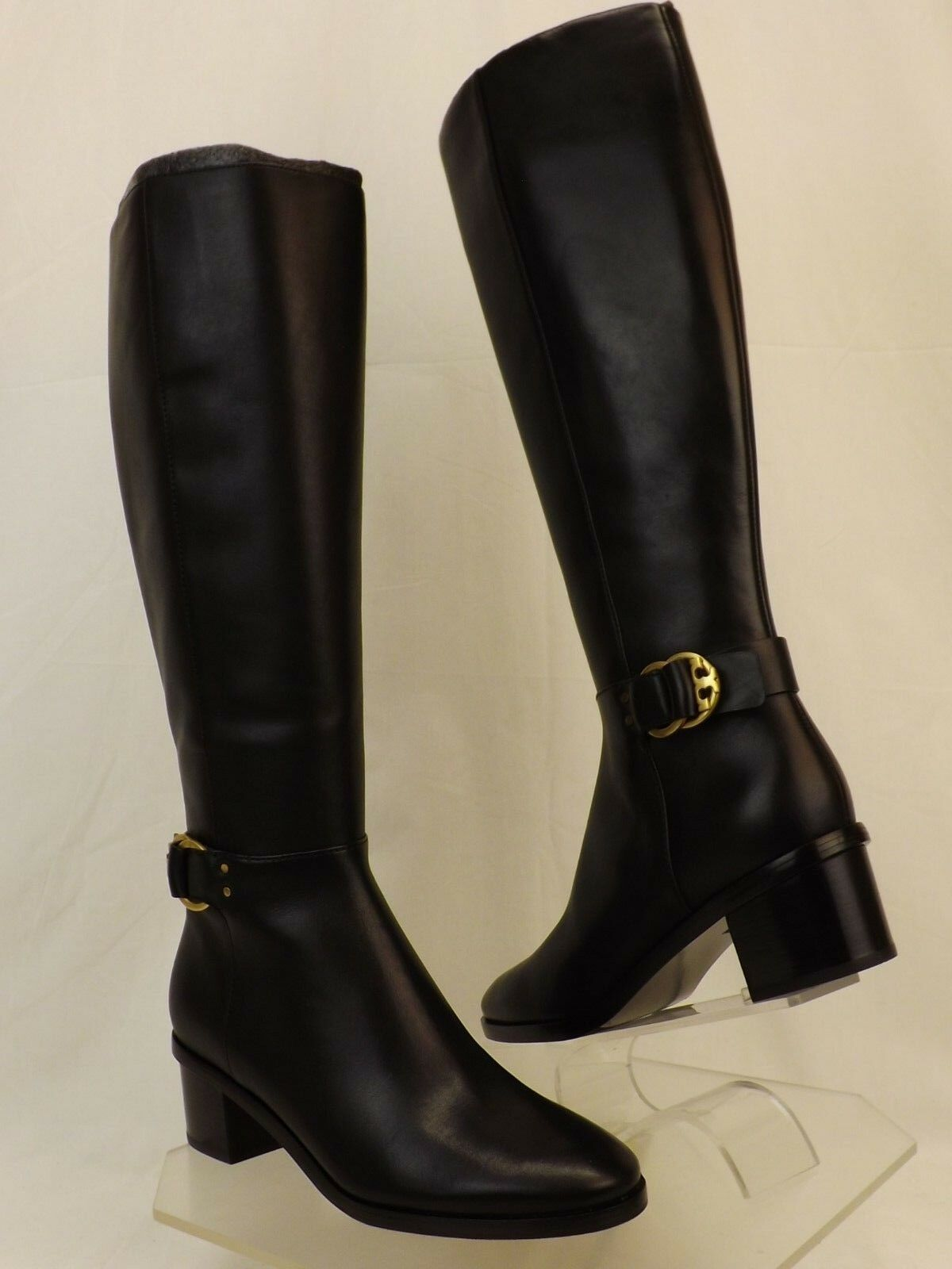 NIB TORY BURCH MARSDEN BLACK LEATHER gold HALF REVA BUCKLE  RIDING ZIP BOOTS 10